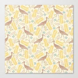 Vintage pastel brown yellow bohemian bird flowers Canvas Print