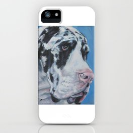 Harlequin Great Dane dog portrait art from an original painting by L.A.Shepard iPhone Case