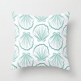 Scallop sea shells illustration. Aqua blue and white. Summer ocean beach print. Throw Pillow
