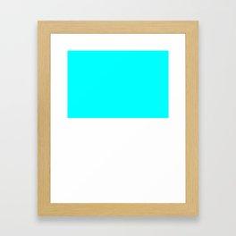 White and Aqua Cyan Horizontal Halves Framed Art Print