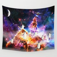 penguins Wall Tapestries featuring penguins by haroulita