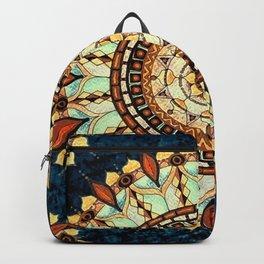 Sketched Mandala Design On A Blue Textured Background Backpack