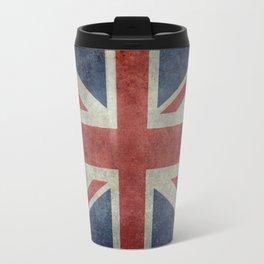 UK Flag, Dark grunge 1:2 scale Travel Mug