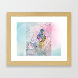 A girl in a forest Framed Art Print