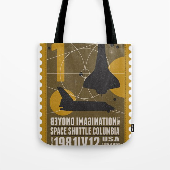 Beyond imagination: Space Shuttle postage stamp Tote Bag