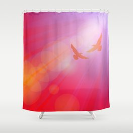 Birds, seagulls silhouette on pink background, sunset, dawn. Shower Curtain