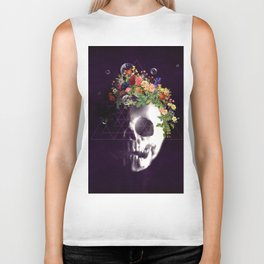 Skull with flowers no1 Biker Tank