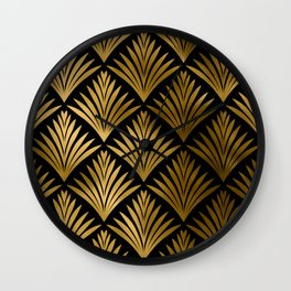 Luxurious Black and Gold Art Deco Elegant Pattern Wall Clock