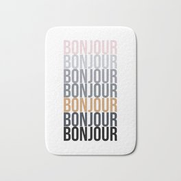 Bonjour in Bold Typography and Fall Colors Bath Mat