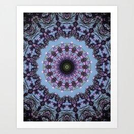Pale Blue Lavender Mandala Art Print