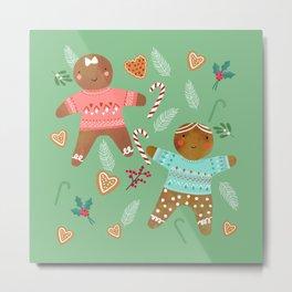 Gingerbread girl and boy Metal Print