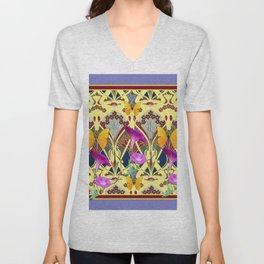 Decorative Cream Color & Fuchsia Morning Glories Floral Yellow Butterflies Unisex V-Neck