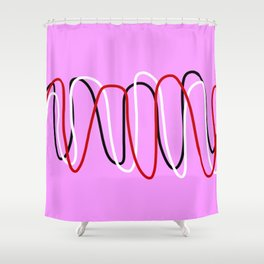Abstract Red Black White Lines on Pink Shower Curtain