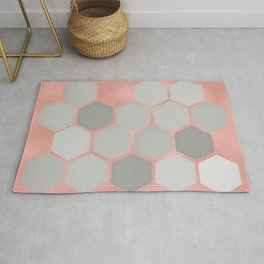 Honeycomb on Rose Gold Rug