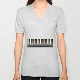 White And Black Piano Keys Unisex V-Neck