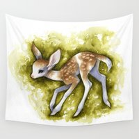 fawn Wall Tapestries featuring Piebald Fawn by Savannah Horrocks