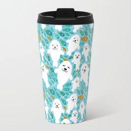 White cute fur seal and fish in water Travel Mug