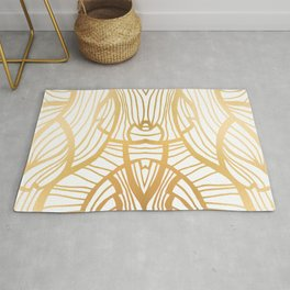 Gold Metallic Watercolor Magnolia Flower Rug