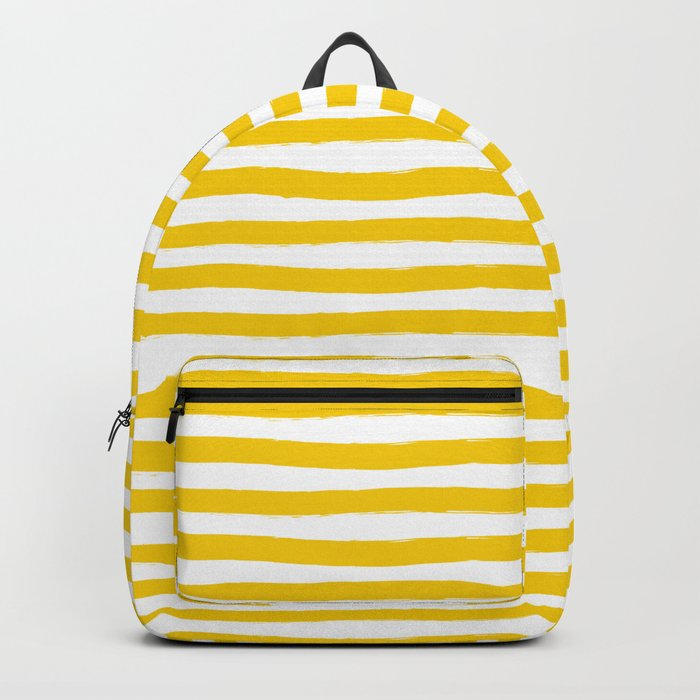 Yellow And White Horizontal Stripes Backpack