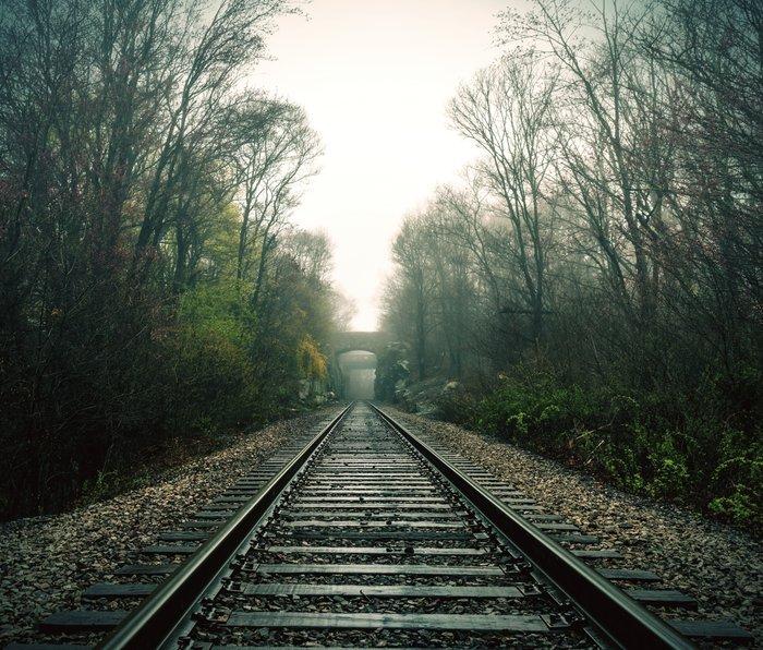 Creepy foggy railroad Metal Travel Mug