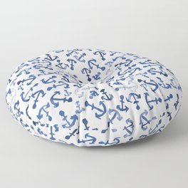 Nautical Navy Blue White Watercolor Anchor Pattern Floor Pillow