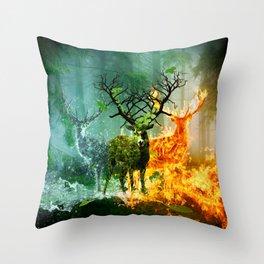 Nature Deers Throw Pillow