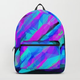 psychedelic geometric polygon abstract in pink blue with black background Backpack