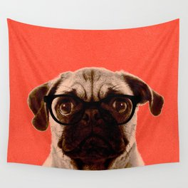Geek Pug in Red Background Wall Tapestry
