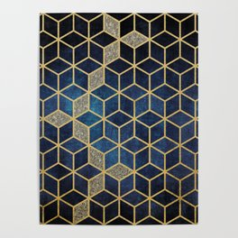 Shades Of Blue Cubes Pattern Poster