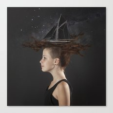 Sailing - Black Canvas Print