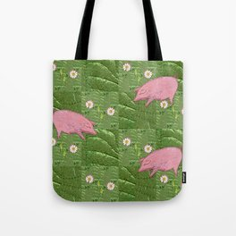 Three little pigs looking for daisies Tote Bag