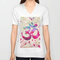 om V-neck T-shirts featuring OM by Pranatheory