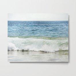 Blue Ocean Seascape, Sea Wave Photography, Pacific Coastal Landscape, Beach Seashore Metal Print
