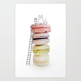 Bunny & macarons Art Print
