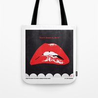 rocky horror picture show Tote Bags featuring No153 My The Rocky Horror Picture Show minimal movie poster by Chungkong
