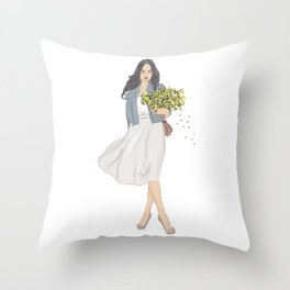 Girl with yellow flowers Throw Pillow