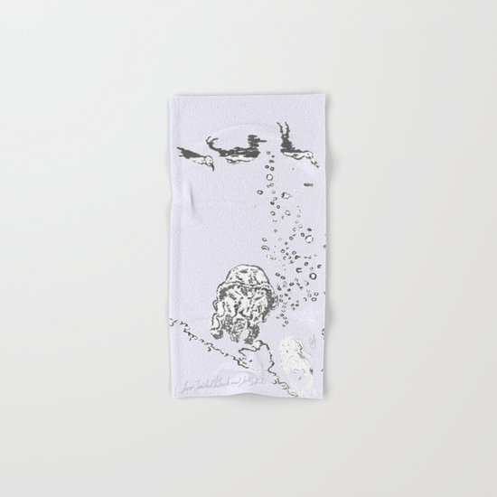 Two Tailed Duck and Jellyfish Lavender  Hand & Bath Towel