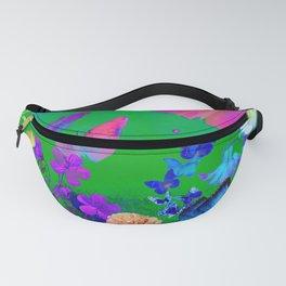 Green Butterflies & Flowers Fanny Pack