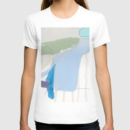 stone by stone 3 - abstract art fresh color turquoise, mint, purple, white, gray T-shirt