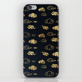 Black and Gold Asian Style Cloud Pattern iPhone Skin