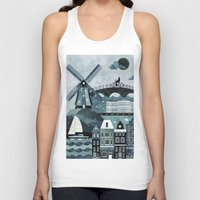 travel poster Tank Tops featuring Amsterdam Travel Poster by ClaireIllustrations