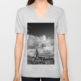 Istanbul: A Fusion of Black and White Unisex V-Neck