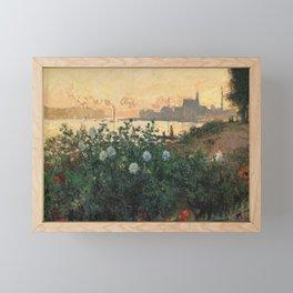 Flowered Riverbank, Argenteuil, Claude Monet Framed Mini Art Print