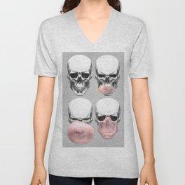Skull with gum Unisex V-Neck