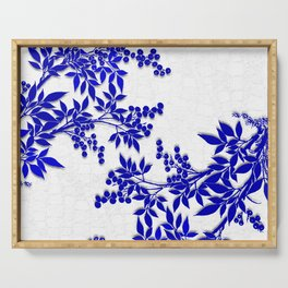 BLUE AND WHITE  TOILE LEAF Serving Tray