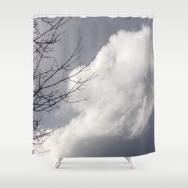Beautiful Grey Sky With Single White Cloud Reflecting Sunlight Shower Curtain
