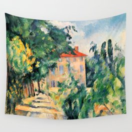 """Paul Cezanne """"House with red roof"""", 1890 Wall Tapestry"""