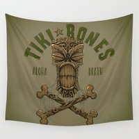 tiki Wall Tapestries featuring Tiki Bones by Nano Barbero