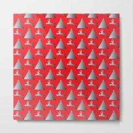 Reindeer Christmas tree Pattern red Metal Print