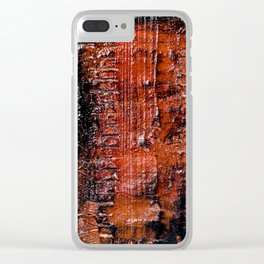 Hollow (Navy/Red Abstract) Clear iPhone Case